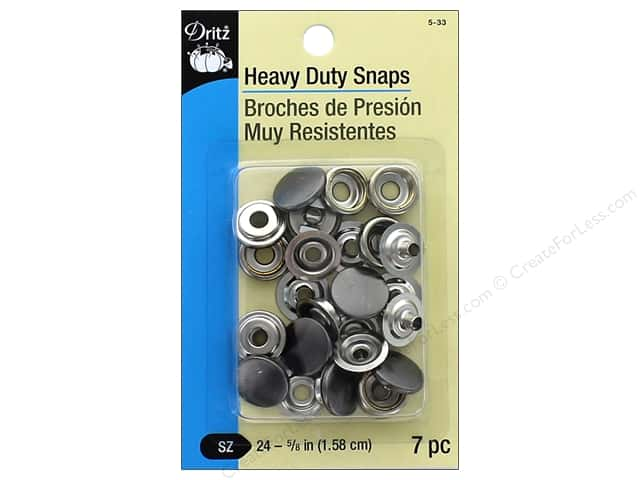 Dritz Heavy Duty Snaps Size 24 7 pc. Gunmetal