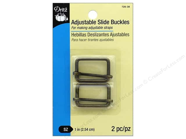 Dritz Adjustable Slide Buckles 1 in. 2 pc. Antique Brass