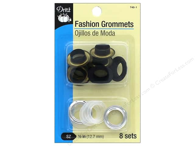 Dritz Fashion Grommets 1/2 in. 8 pc. Black