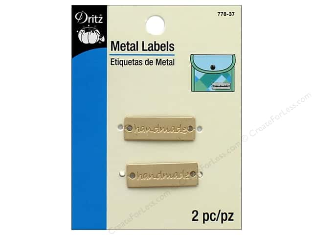 Dritz Metal Labels 2 pc. Handmade Matte Gold