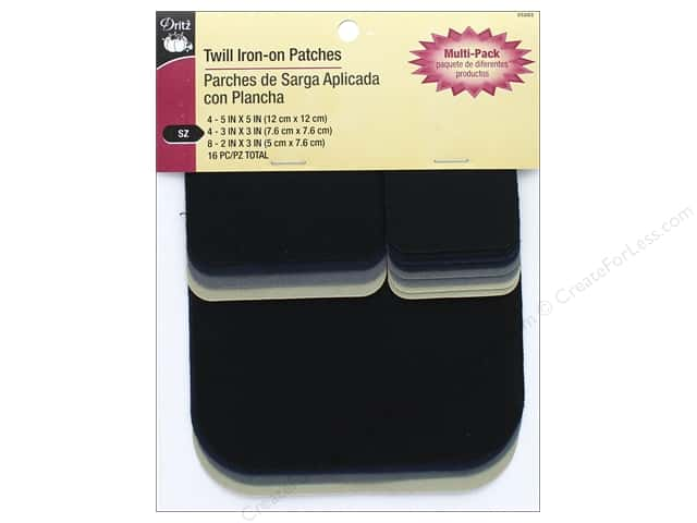 Dritz Twill Iron-On Patches 16 pc. Assorted