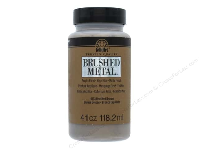 Plaid Folkart Brushed Metal Acyrlic Paint 4 oz. Bronze