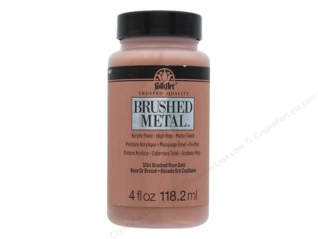 Plaid Folkart Brushed Metal Acyrlic Paint 4 oz. Rose Gold