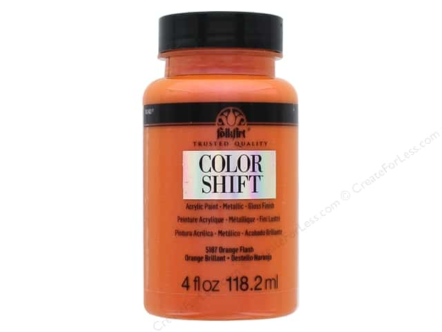 Plaid Folkart Color Shift Paint 4 oz. Orange Flash