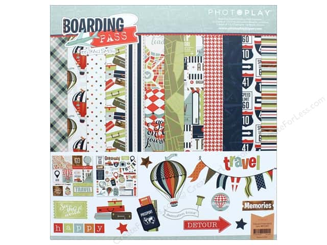 "Photo Play Collection Boarding Pass Collection Pack 12""x 12"""
