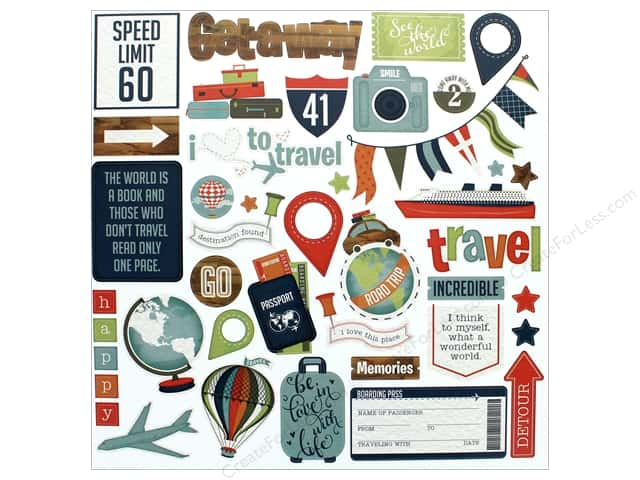 """Photo Play Collection Boarding Pass Sticker Element 12""""x 12"""" (12 pieces)"""