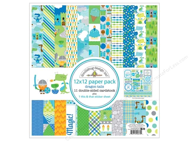 "Doodlebug Collection Dragon Tails Paper Pack 12""x 12"""