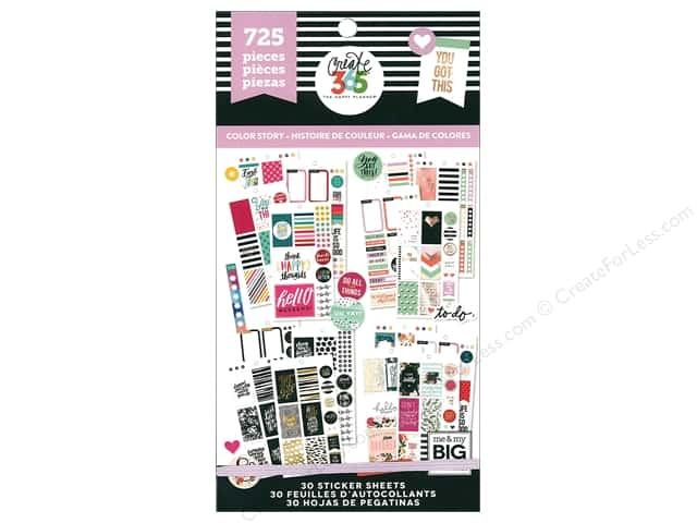 Me&My Big Ideas Create 365 Happy Planner Sticker Value Pack Classic Color Story