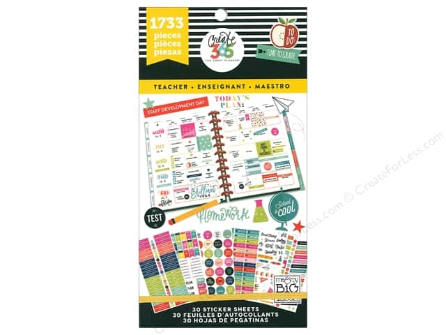 Me&My Big Ideas Collection Create 365 Happy Planner Sticker Value Pack Big Teacher