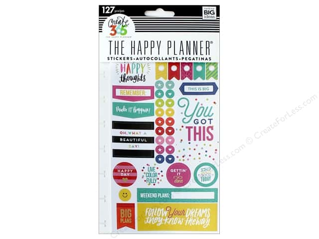 Me&My Big Ideas Collection Create 365 Happy Planner Sticker Snap In Happy Brights