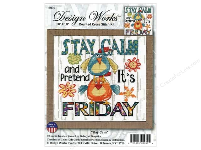 "Design Works Cross Stitch Kit 10""x 10"" Stay Calm"