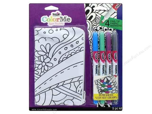 Tulip Color Me Fabric Markers Kit Zipper Pouch