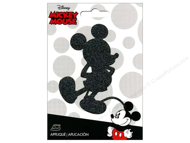 Simplicity Applique Disney Iron On Small Mickey Black Shimmer