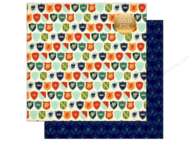 """Echo Park Collection Once Upon A Time Prince Paper 12""""x 12"""" Shiny Shields (25 pieces)"""