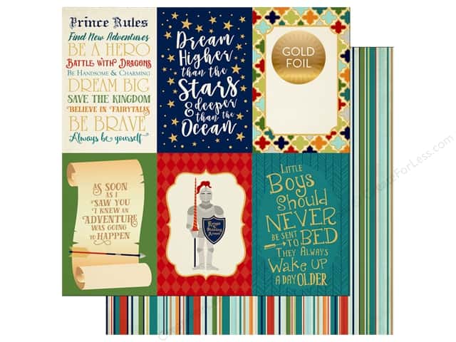 "Echo Park Collection Once Upon A Time Prince Paper 12""x 12"" Journaling Cards 4""x 6"" (25 pieces)"