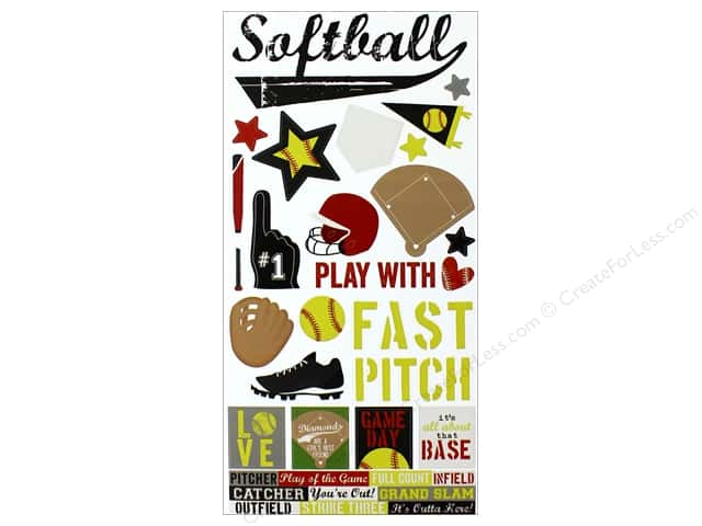 "Simple Stories Collection Softball Sticker 6""x 12"" (12 pieces)"