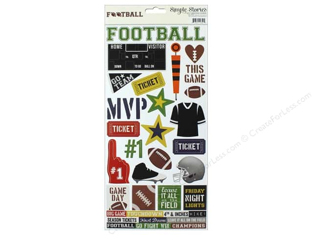 "Simple Stories Collection Football Sticker 6""x 12"" (12 pieces)"