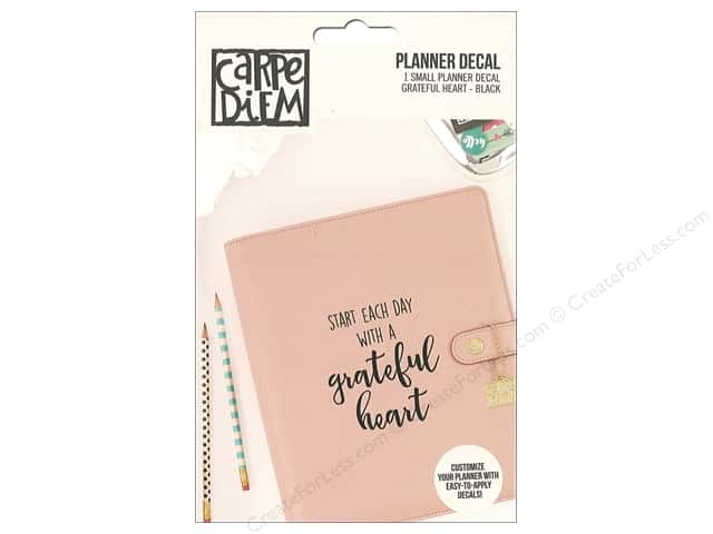 Simple Stories Collection Carpe Diem Planner Decal Small Grateful Heart Black