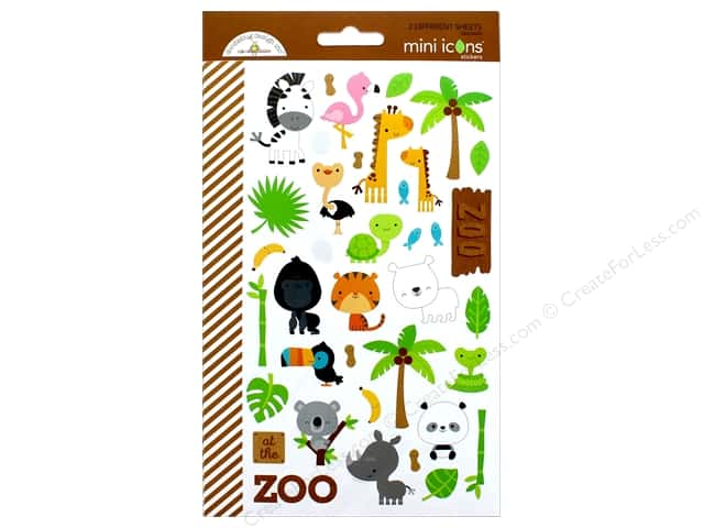 Doodlebug Collection At The Zoo Sticker Mini Icons (12 sets)