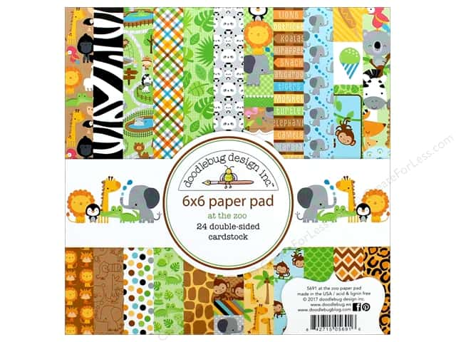 """Doodlebug Collection At The Zoo Paper Pad 6""""x 6"""""""