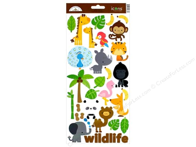 Doodlebug Collection At The Zoo Sticker Icons (12 pieces)