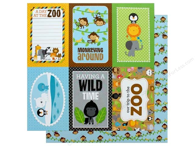 "Doodlebug Collection At The Zoo Paper 12""x 12"" Hanging Out (25 pieces)"