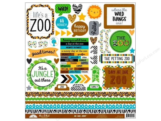 Doodlebug Collection At The Zoo Sticker This & That (12 pieces)