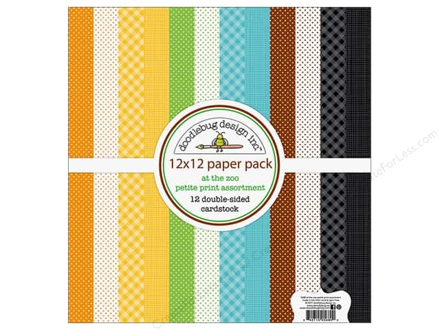 "Doodlebug Collection At The Zoo Paper Pack 12""x 12"" Petite Print"