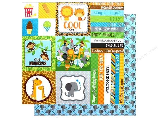 "Doodlebug Collection At The Zoo Paper 12""x 12"" Elephant Parade (25 pieces)"