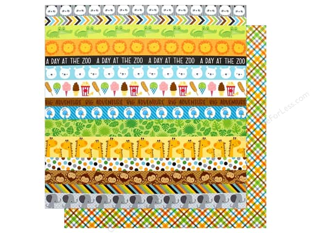 """Doodlebug Collection At The Zoo Paper 12""""x 12"""" Safari Plaid (25 pieces)"""