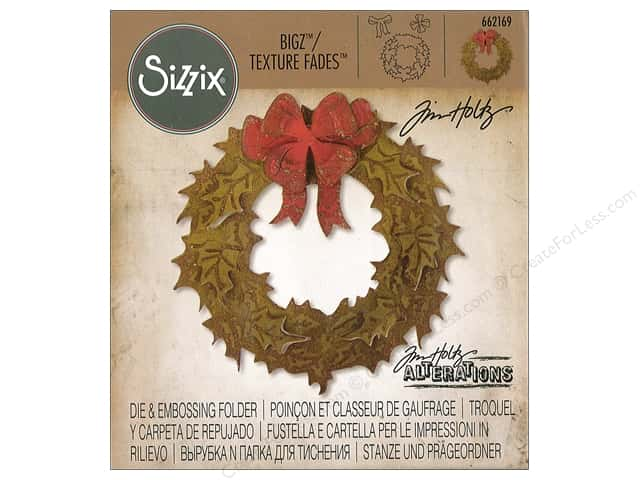 Sizzix Die & Emboss Folder Tim Holtz Bigz/Texture Fades Layered Holiday Wreath