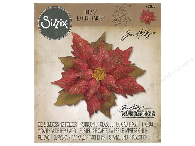Sizzix Die & Embossing Folder Tim Holtz Texture Fades Layered Tattered Poinsettia