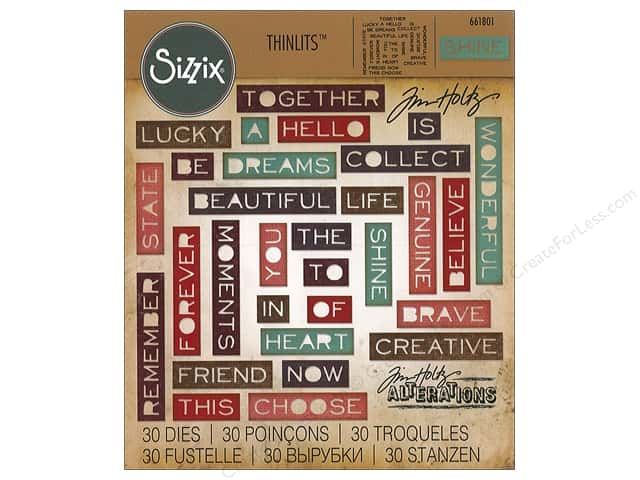 Sizzix Dies Tim Holtz Thinlits Pondering Words