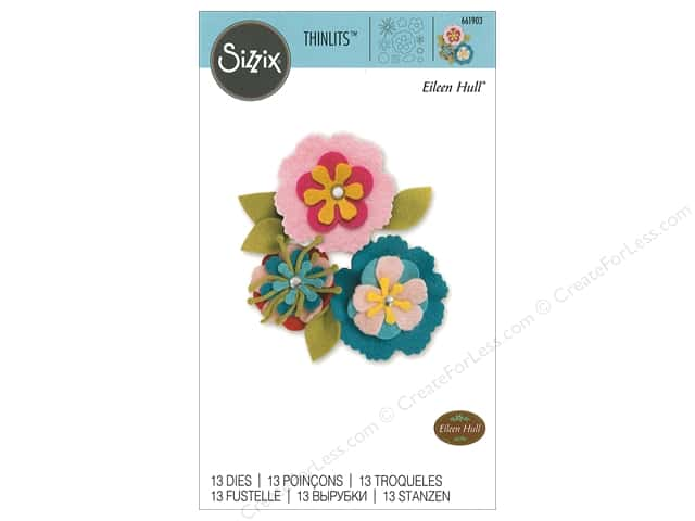 Sizzix Dies Eileen Hull Thinlit Stitchy Flowers & Leaf