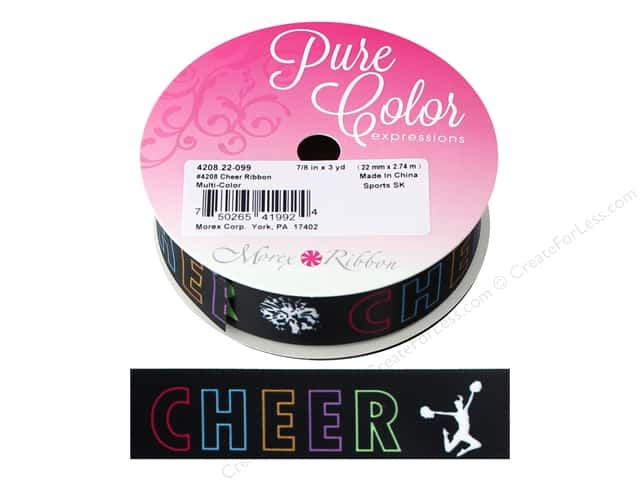 "Morex Ribbon Satin Sports Cheer 7/8""x 3yd Multi"