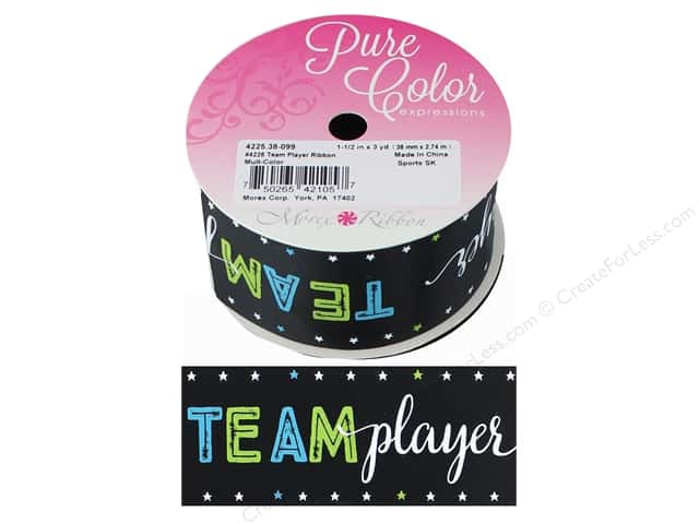"Morex Ribbon Satin Sports Team Player 1.5""x 3yd Multi"