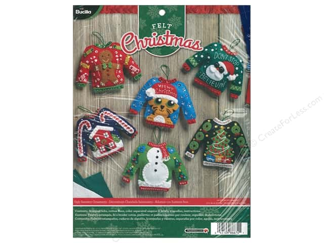 Bucilla Felt Kit Ornaments Ugly Sweaters
