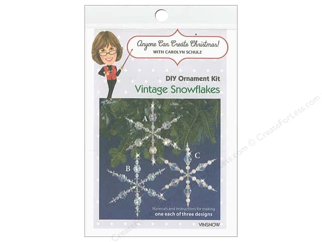 Solid Oak Kit Beaded Ornament Vintage Snowflakes