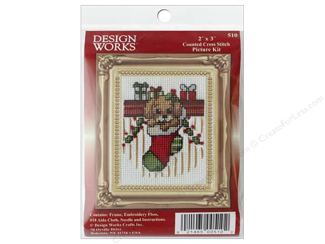 "Design Works Cross Stitch Kit 2""x 3"" Puppy In Stocking"