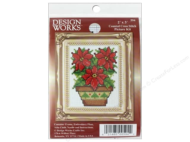 "Design Works Cross Stitch Kit 2""x 3"" Poinsettia"