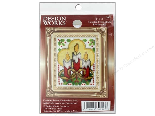 "Design Works Cross Stitch Kit 2""x 3"" Candles"
