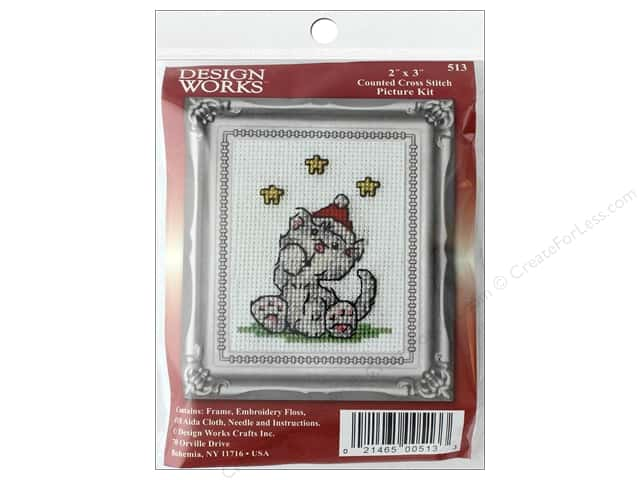 Design Works Counted Cross Stitch Kit 2 x 3 in. Grey Cat
