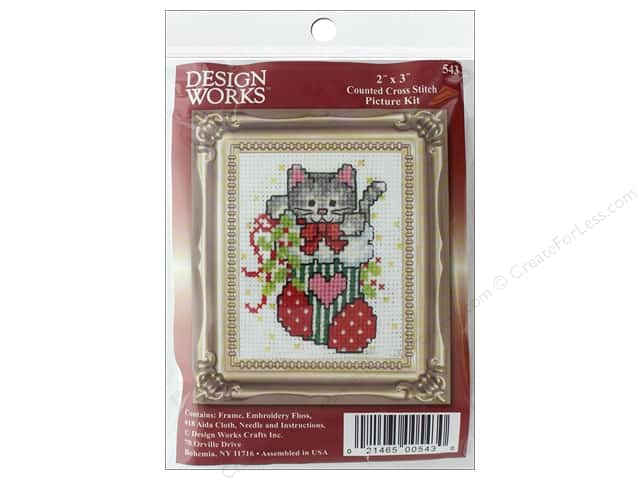"Design Works Cross Stitch Kit 2""x 3"" Stocking Cat"