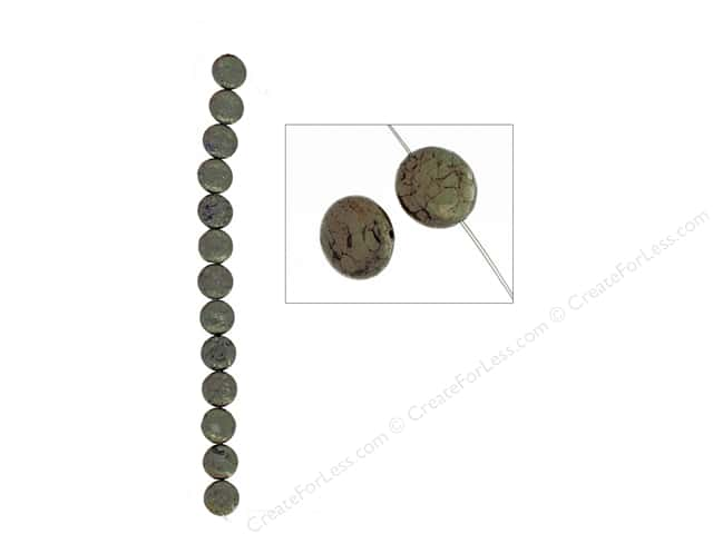 John Bead Semi Precious Bead 8 in. Pyrite 12 mm Coin
