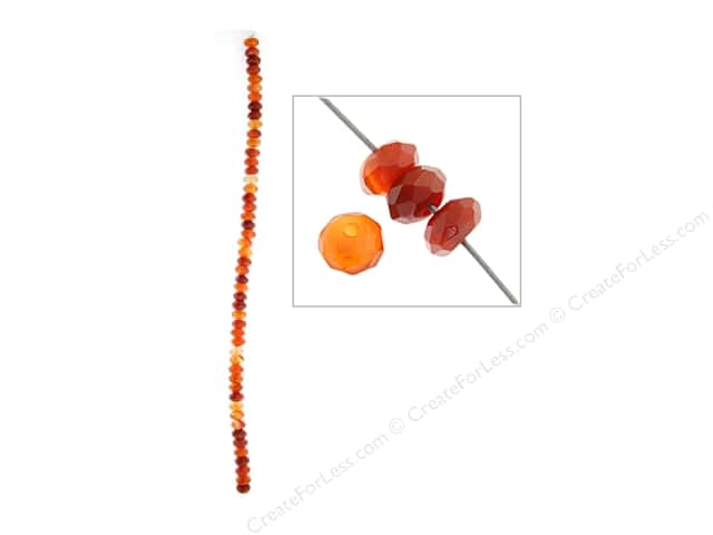 John Bead Semi Precious Bead 8 in. Carnelian 6 mm Rondelle Facetted