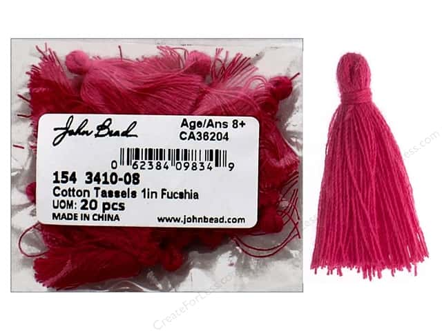 "John Bead Tassel 1"" Cotton Fuchsia 20pc"