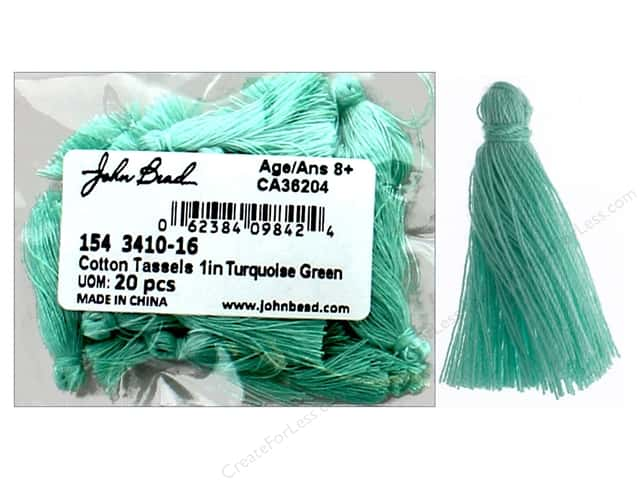 "John Bead Tassel 1"" Cotton Turquoise Green 20pc"