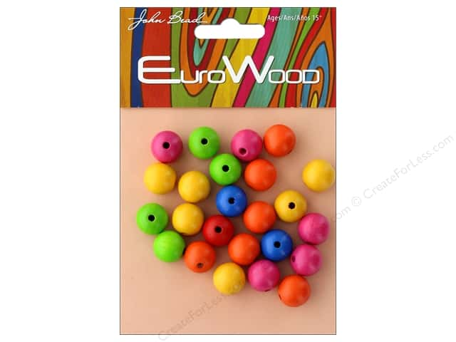 John Bead Wood Bead Round 12mm Multi
