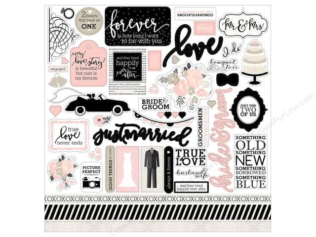 "Echo Park Collection Wedding Bliss Sticker 12""x 12"" (15 pieces)"