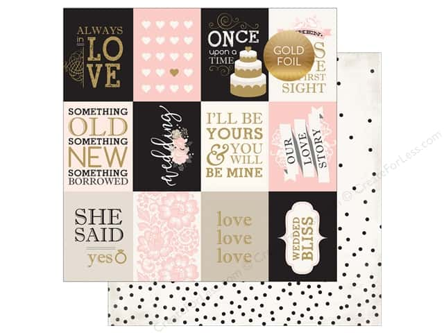 """Echo Park Collection Wedding Bliss Paper 12""""x 12"""" Journaling Cards 3""""x 4"""" (25 pieces)"""